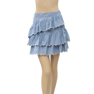 Ulla Johnson tiered Embroidered poplin mini skirt Boho Summer XS-0