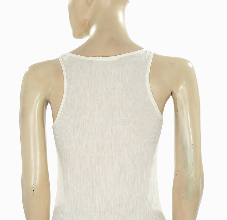 New Mes Demoiselles Embroidered Fringes Beige Sheer Tank Top XS