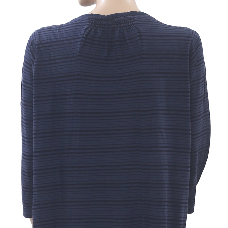 Lucky Brand Striped Printed Tunic Top Crochet Pleasant Navy Boho XL