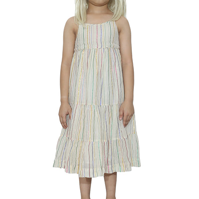 Bonpoint Kids Girls Shimmer Striped Mini Dress 6 Years
