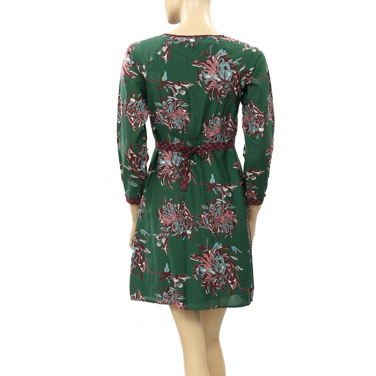 Indiwoman By Individual Floral Printed Green Mini Dress S