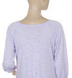 Free People Embroidered Raglan Sleeve Purple Blouse Top Small S