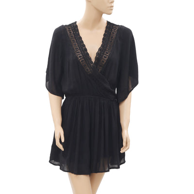 New Abercrombie & Fitch Lace Cutout Button Black Wrap Romper Small S