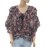 IRO Pasco Printed Flared Wide Sleeve Asymmetrical Blouse Top M 38 New