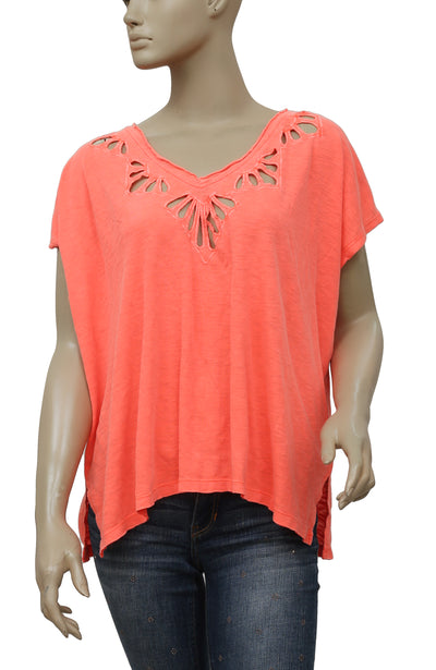 Free People Double Cutout V-Neck Blouse Top S