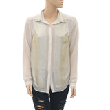 New Kirei Sequin Embellished Buttondown Beige Blouse Shirt Top Medium M