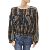 Free People Check & Plaid Printed Blouse Crop Top Pocket Smocked L