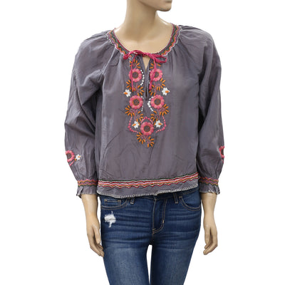 Odd Molly Anthropologie Floral Embroidered Blouse Top S 1