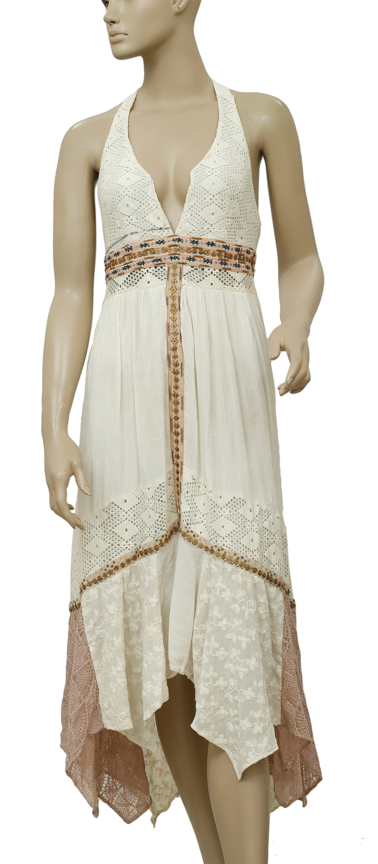 Free People Indian Summer Halter Dress Embellished Lace S