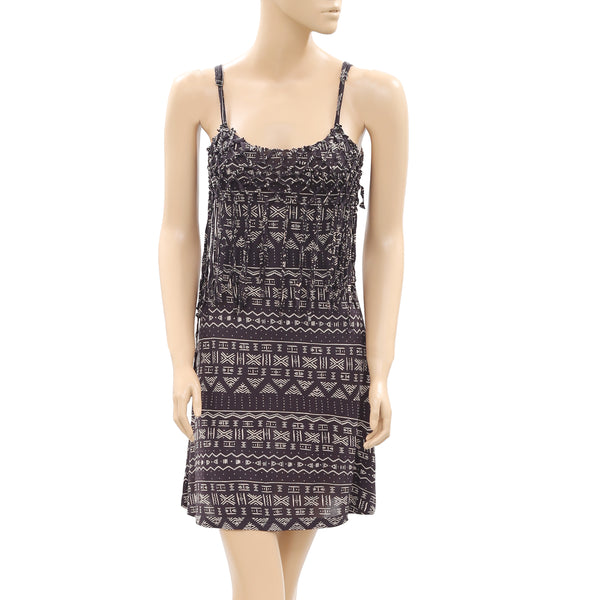 Billabong Sleeveless Printed Crochet Fringes Dress XS