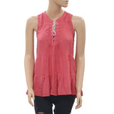 Floreat Anthropologie Anafa Tiered Blouse Tank Top Lace Up Coral XS