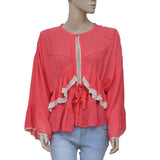 IRO Stockett Crochet Lace Ruffle Studded Coral Blouse Top Small S 36