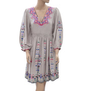 Ulla Johnson Vija Embroidered Dove Mini Dress Cotton Flare Cocktail S NWT