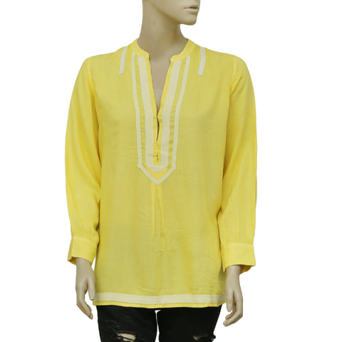 Lilly Pulitzer Long Sleeve Yellow Casual Tunic Top Large L