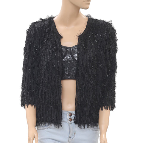 Free People Embellished Black Blouse Jacket Top Fringes Front Open S