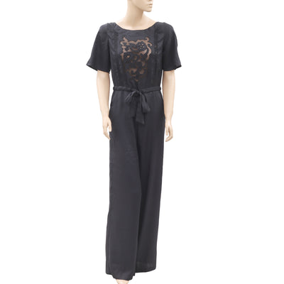 Corly Mesh Lace Embroidered Black Jumpsuit Dress S