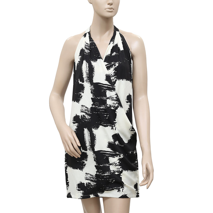 Mbym Freja Printed Black & Ivory Halter Tunic Dress S