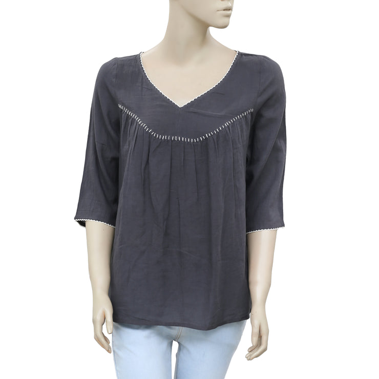 Victor B thread Embroidered Black Blouse Top