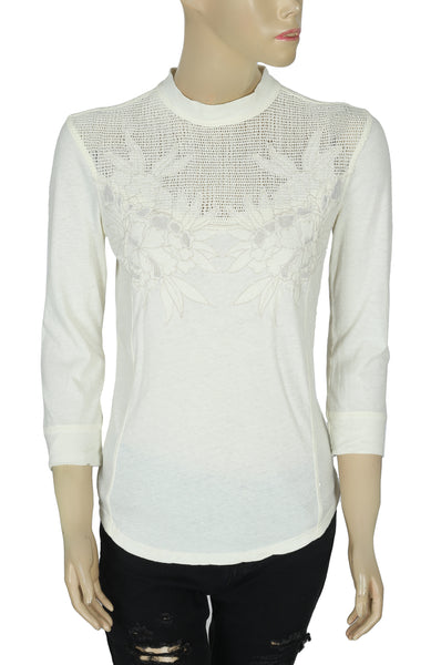Free People Mesh Contrast Ivory Top XS