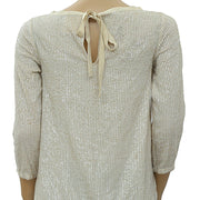 Semicouture Beige Sequin Blouse Top M 40