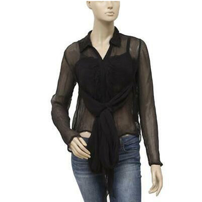 Free People Solid Blouse Top Wrap Sheer Black XS