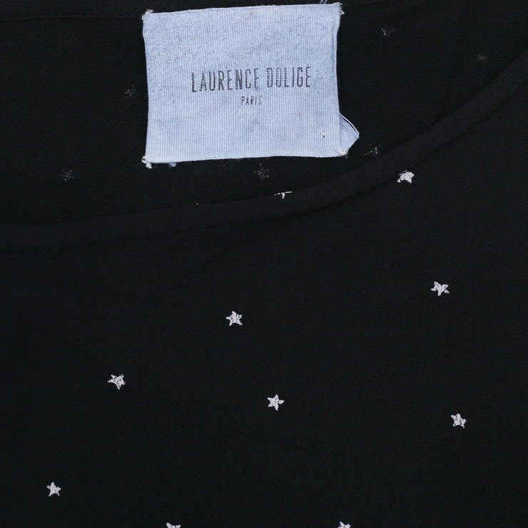 Laurence Dolige Paris Star Printed Blouse Top Embroidered Kimono Black S
