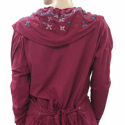 Caite Anthropologie Floral Embroidered Hoodie Cardigan Top S