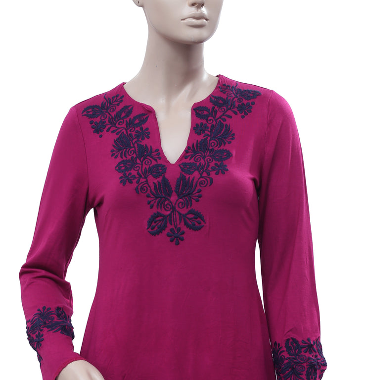 Caite Floral Embroidered Top S