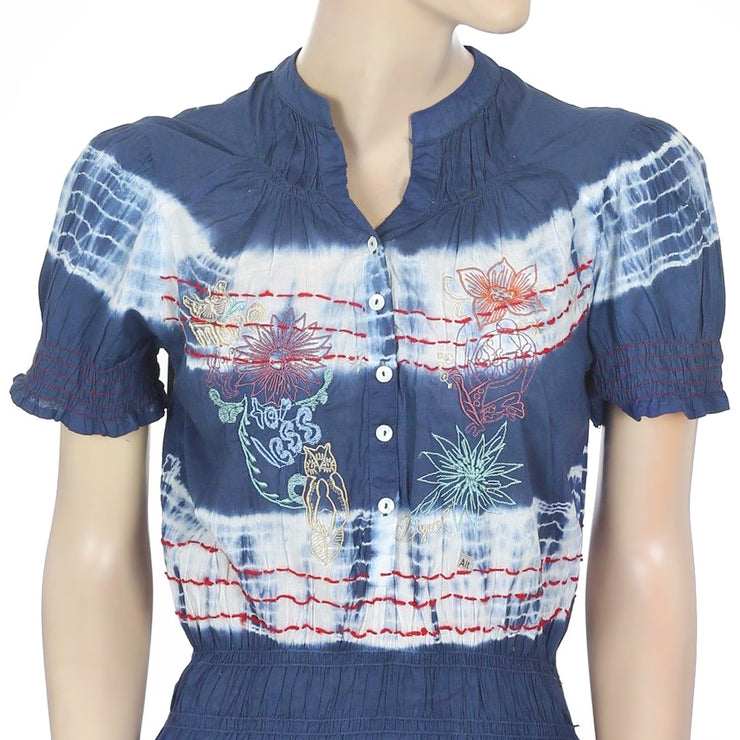Desigual Embroidered Smocked Tie & Dye Cotton Tunic Top S