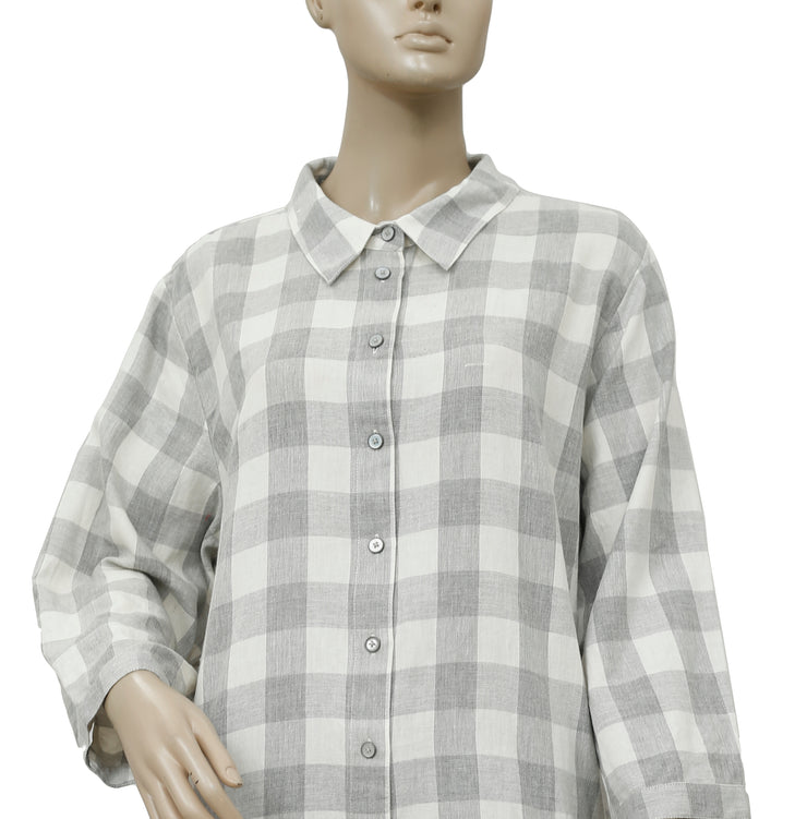 Soft Surroundings Plaid & Check Embroidered Tunic Top PS 1X