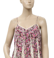 Free People Colorful Printed Lace Sleeveless Tie Knot Blouse Top XS
