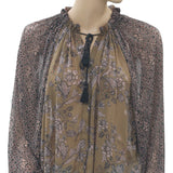 Free People Hendrix Floral Printed Peasant Sheer Tassel Blouse Top S