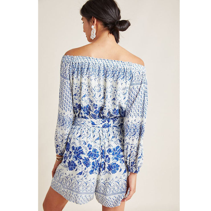 Anthropologie Clemente Off-The-Shoulder Printed Summer Beach Boho New XS