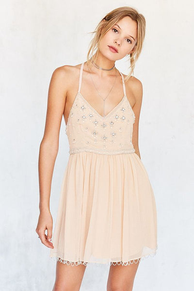 Kimchi Blue Urban Outfitters Snow Queen Embellished Cocktail Mini Dress S
