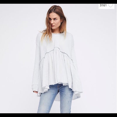 New Free People Summer Dreams Oversized Ice Pullover Hoodie Tunic Top S