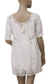 Free People Embroidered Mesh Ivory Dress M