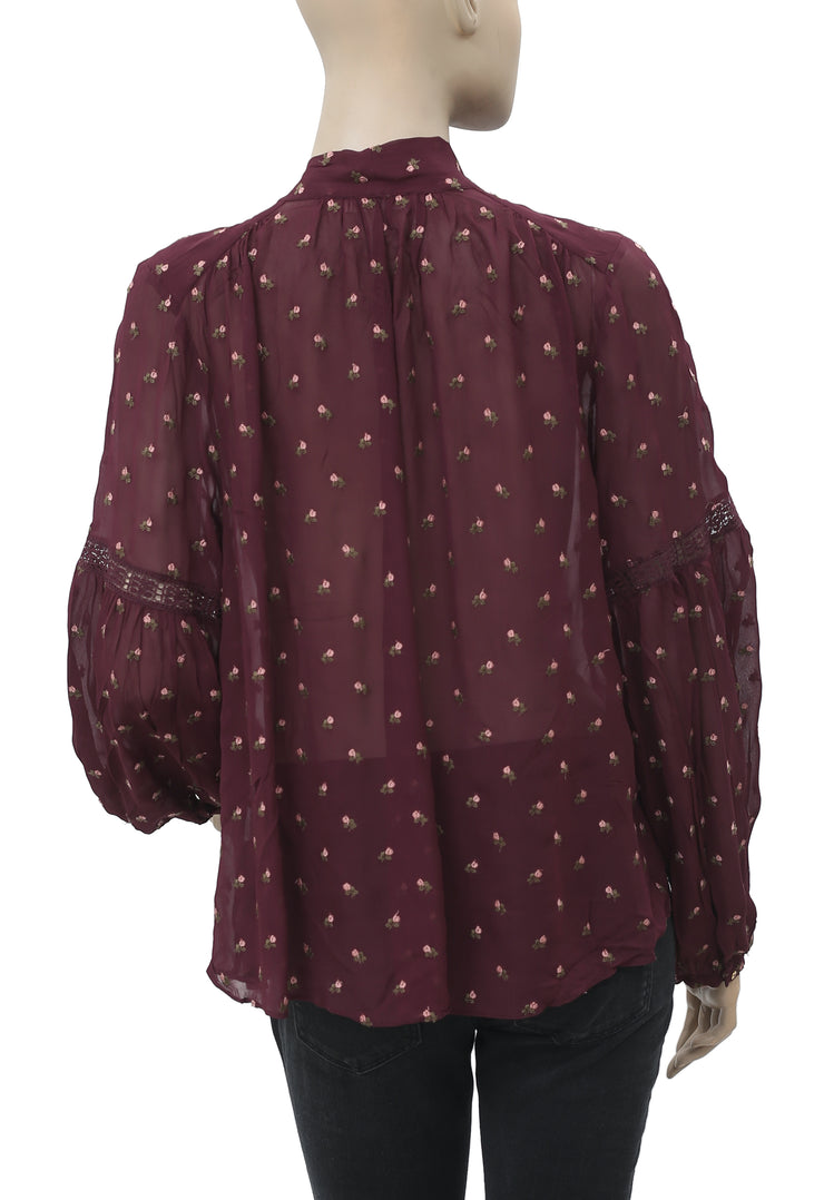Ulla Johnson Odelia Blouse Bordeaux Embroidered Top M
