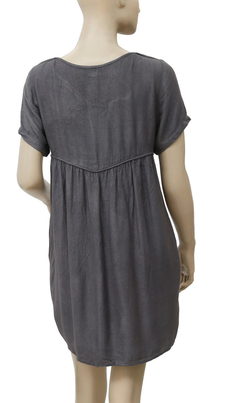 Victor B Embroidered Mesh Gray Tunic Dress S 1