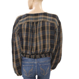 Free People It's The Good Life Plaid Print Blouse Crop Top Smocked L