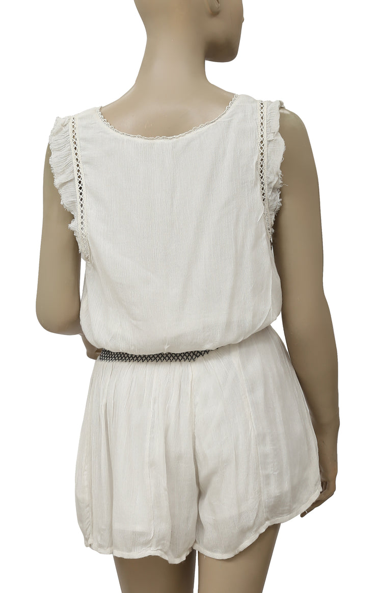 Free People Lace Smocked Ruffle Ivory Romper Dress S