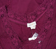 Meadow Rue Anthropologie Lace Medley Pintuck Wine Blouse Top M