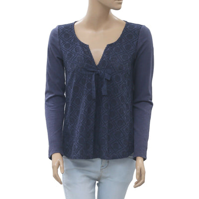 Odd Molly Anthropologie Eyelet Embroidered Navy Blouse Top XS New