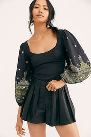 Free People Katie Bug Embroidered Blouse Top Smocked Balloon Sleeve S