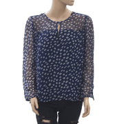 Velvet By Graham & Spencer Vida Printed Blouse Top Navy Boho M