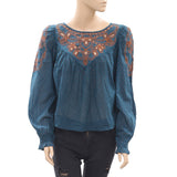 Free People Eyelet Embroidered Blouse Top Printed Buttondown Teal XS