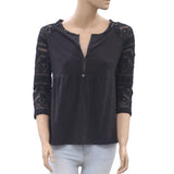 Odd Molly Anthropologie Embroidered Blouse Top Holiday Boho Black S