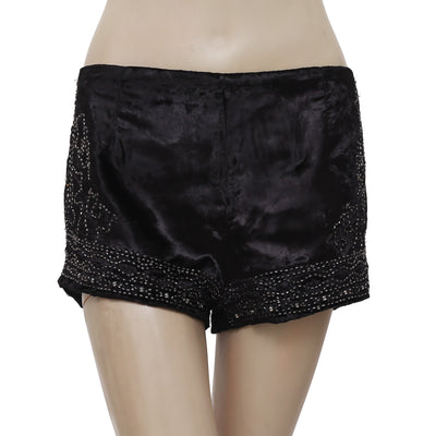 New Free People Beaded Embellished Zipper Casual Black Mini Shorts M