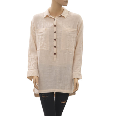 Free People Beige Solid Tunic Top M