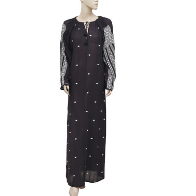 Doen Embroidered Draw String Long Sleeve Black Long Maxi Dress M