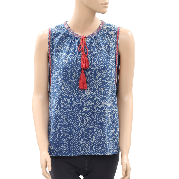 Madewell Printed Stitched Sleeveless Tassel Blue Cotton Blouse Top M